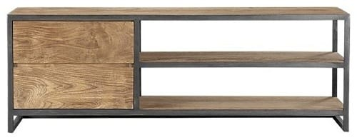 wood and metal media console