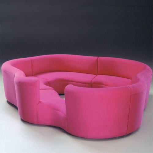 mod pink couch