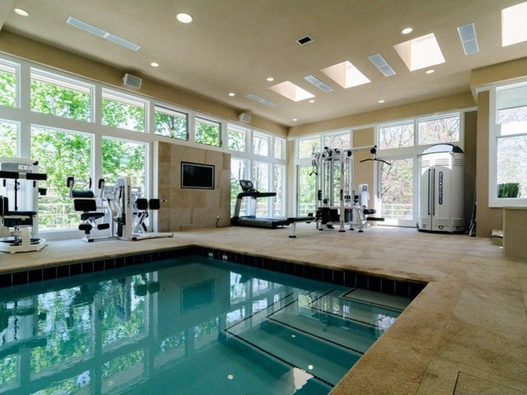 delightful home gym ideas and pool