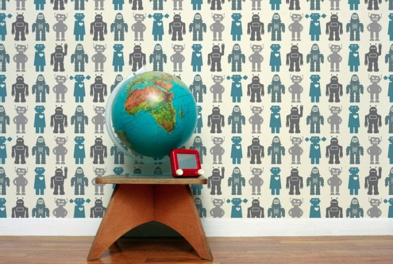 Quirky Robot Wallpaper and Fabric by Aimee Wilder
