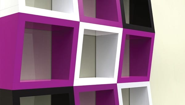 Funky 3D Shelves in Bold, Bright Colors
