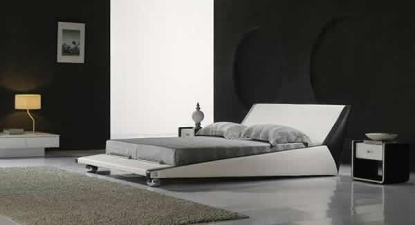 Modern bedroom furniture. Platform Bed in stunning white and grey.