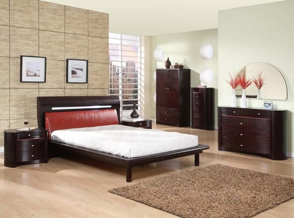 Modern bedroom furniture. Platform Bed with basic style and leather headboard.