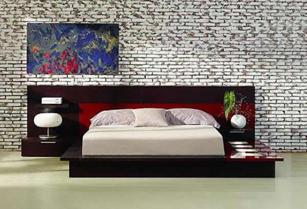 Modern bedroom furniture. Platform Bed with brick wall..