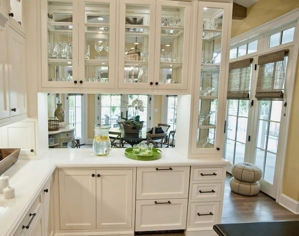 glass front and back kitchen cabinetry