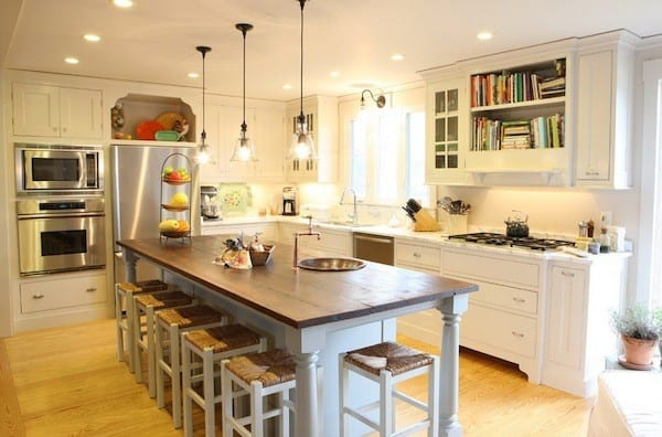 open shelving bookshelves kitchen