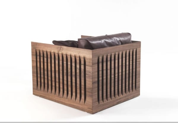 modern leather and wood armchair