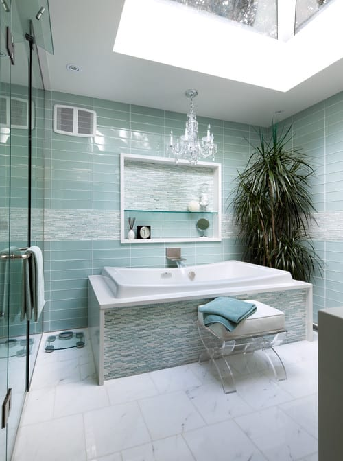 Blue and Marble Shower Tiles