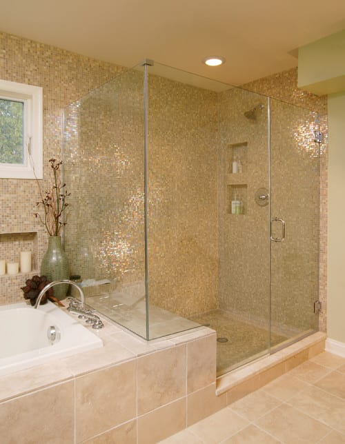 Cream and Sparkle Shower Tiles