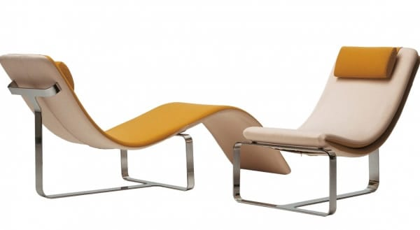 mustard leather lounger