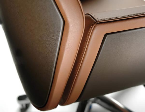 leather and woodgrain finish chair
