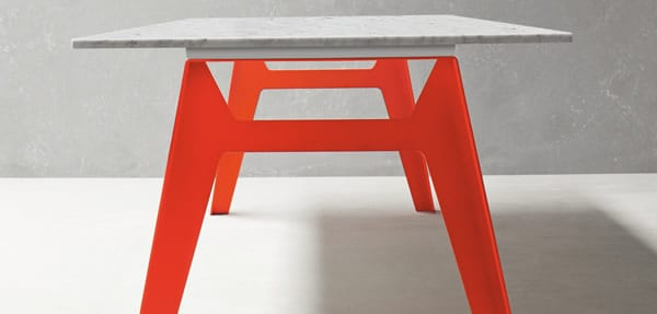 table with colorful red legs