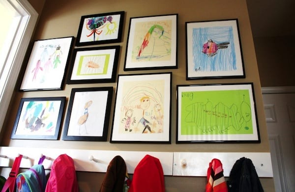 Displaying kids artwork unifying frames
