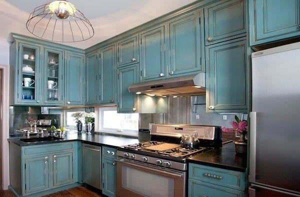 kitchen cabinetry blue distressed