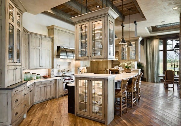 kitchen cabinetry with lights inside