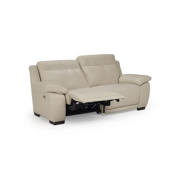 White leather reclining loveseat