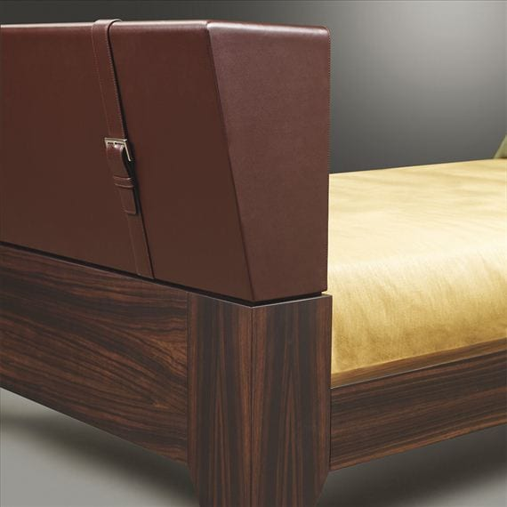 luxury leather and wood bed