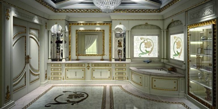 marble and gold bathroom design