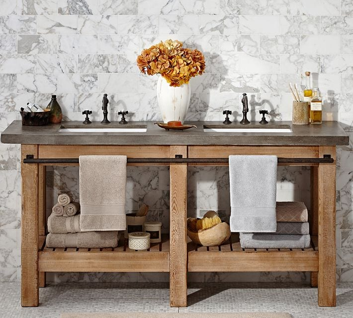 rustic double sink made of concrete and pine