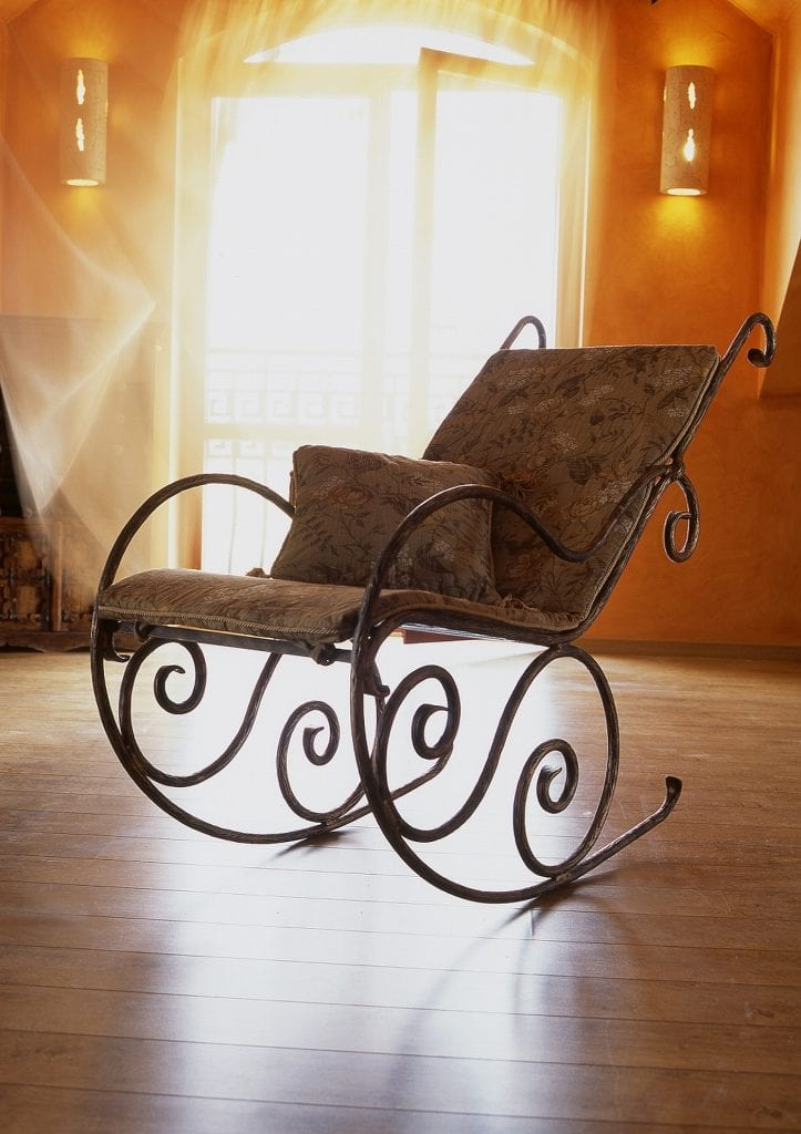 iron cast rocking chair