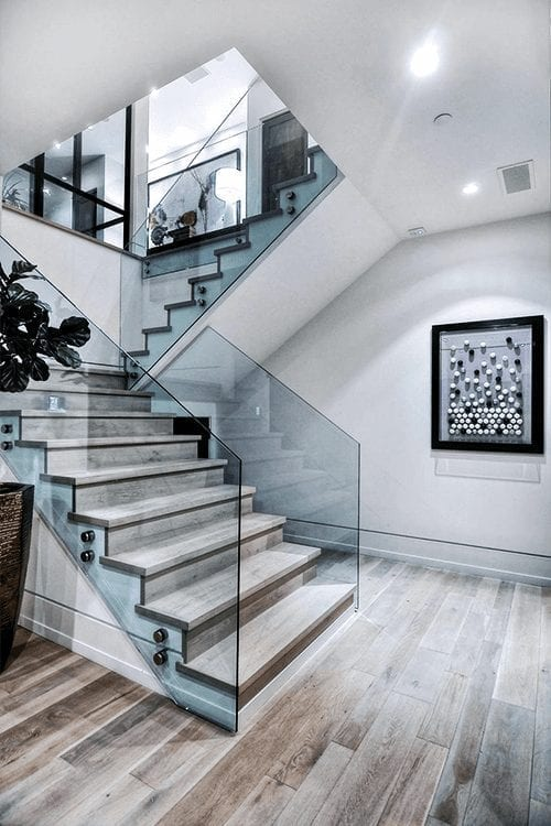 glass encased staircase