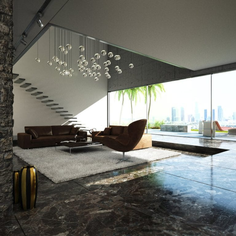 contemporary living room design with stairs