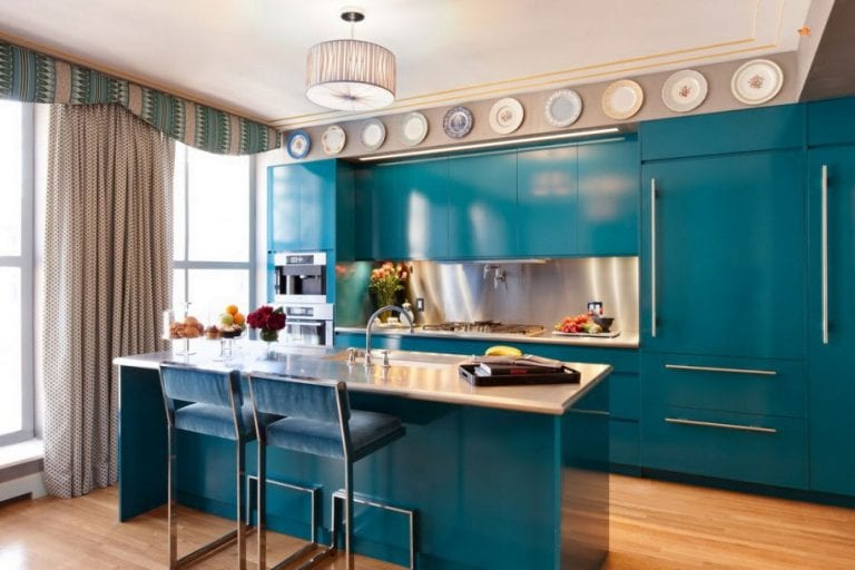 Contemporary-Blue-Kitchen