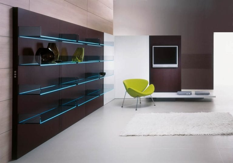 Living Room Design with Lighted Shelving