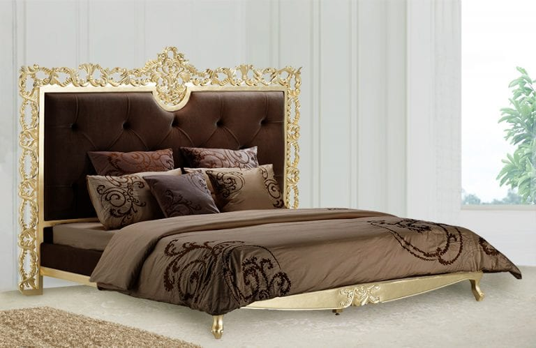 glamorous king bed design with gold frame headboard