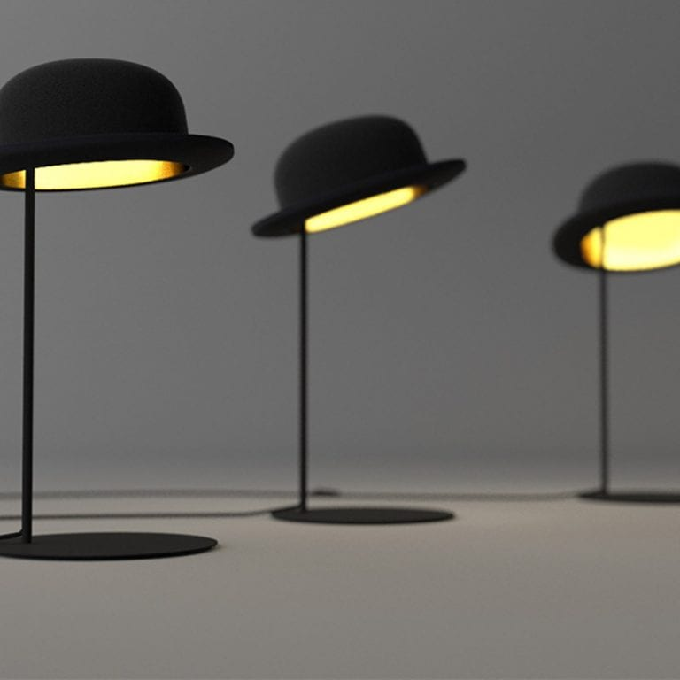 Jeeves table lamp design shaped like a hat
