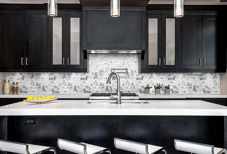 Modern espresso kitchen with tile backsplash