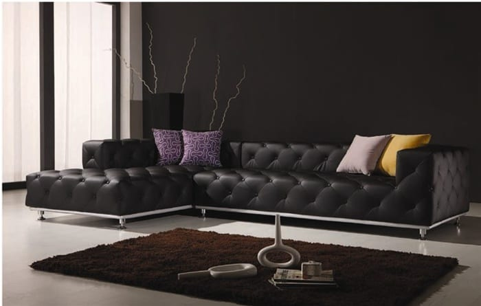 Ubrich Tufted Leather Sectional Couch