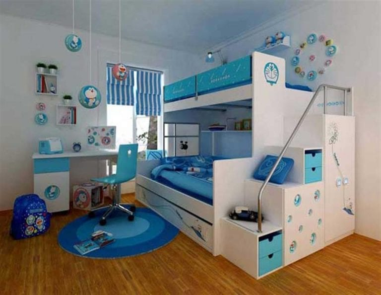 contemporary white and blue kids bedroom furnishings