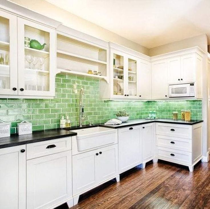 green kitchen backsplash design