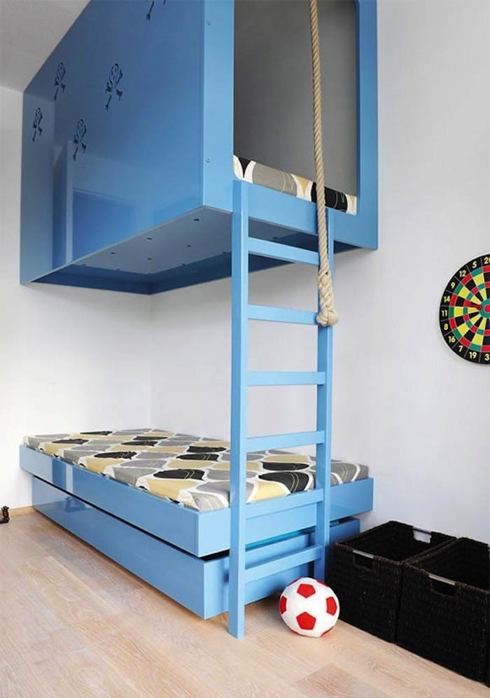 blue bunk bed with stairs