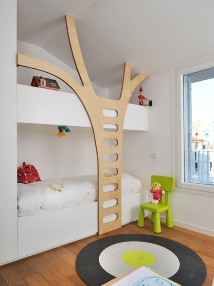 built in bunk bed with stairs