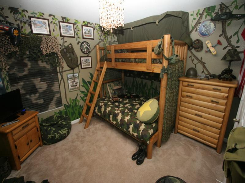camouflage bunk bed with stairs