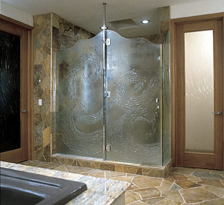 glass shower door with design