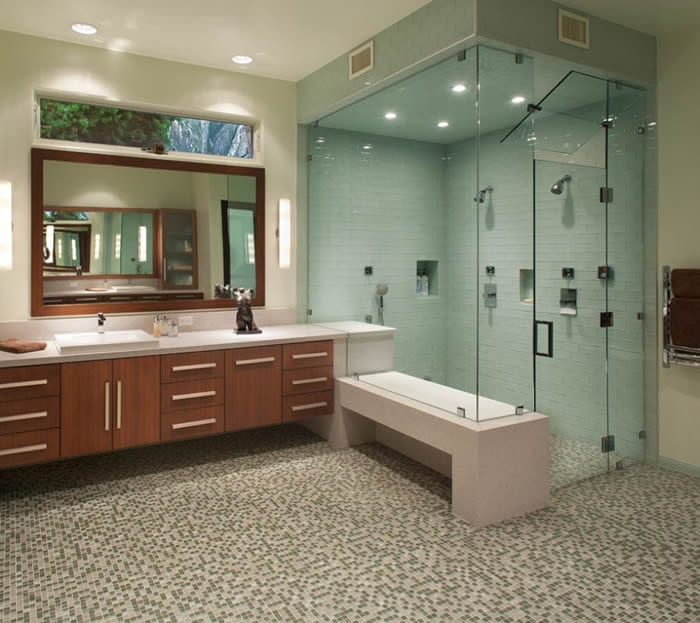 large shower with bench seat