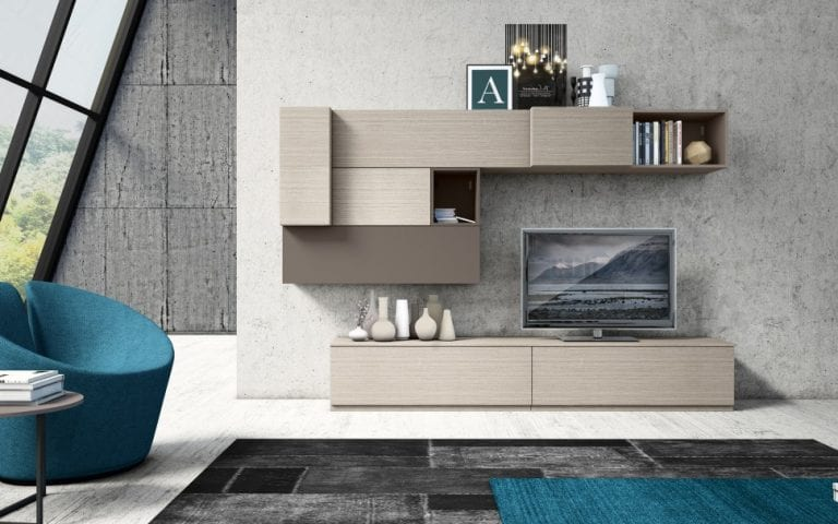 light wood wall unit with storage