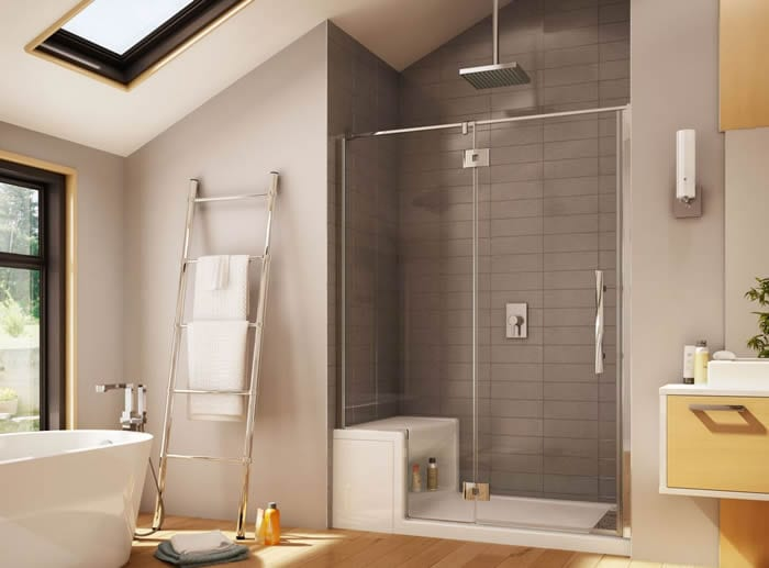 small shower stall with seat