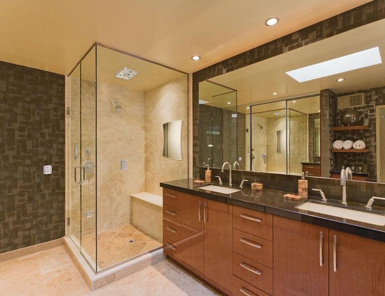 ultra modern shower with seat