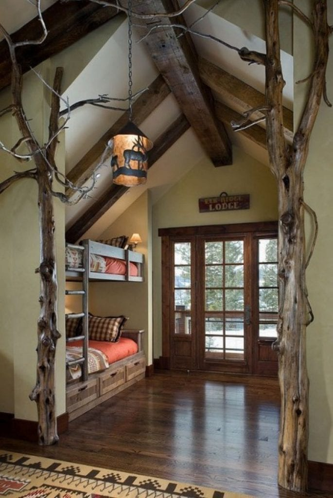 wood bunk bed with stairs