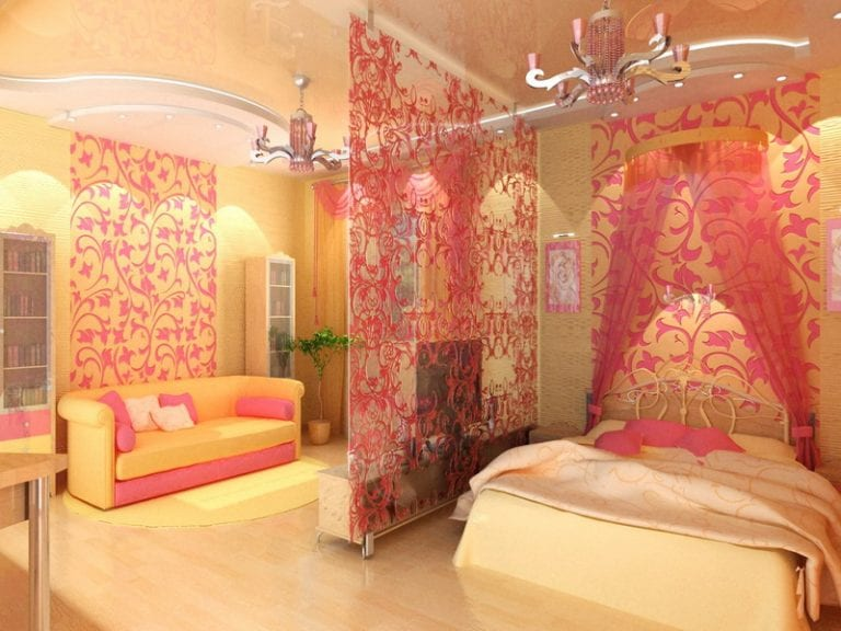 girls bedroom with curtains