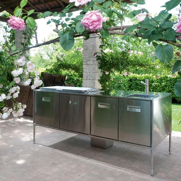 stainless steel barbeque and sink