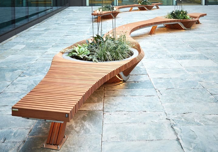 TF Urban public bench with planter