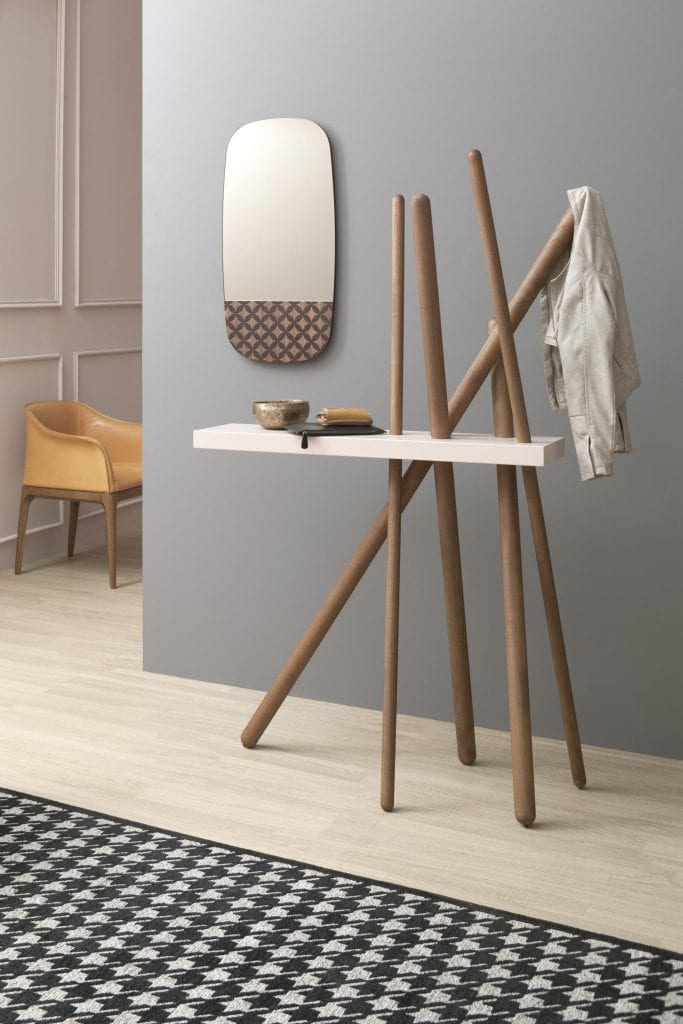 Wood, Hallway Console with Coat Hanger from Tonin Casa
