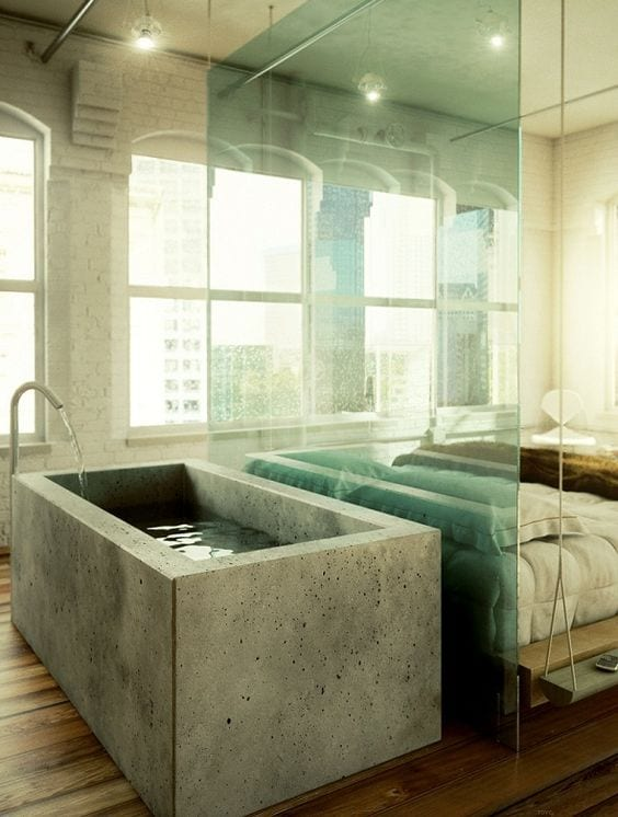 bedroom with a pure concrete bathtub