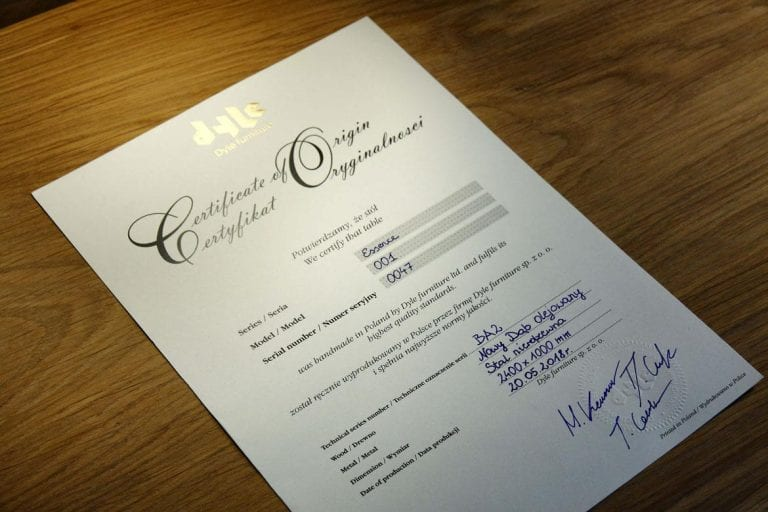 Dyle Bespoke Dining Table Certificate