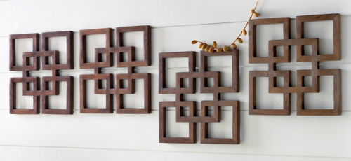 Wooden Wall Art Featuring Four Squares